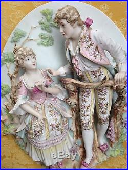Vintage Bisque Porcelain Lovers Sculptural Wall Plaque Set Of 2 H 21