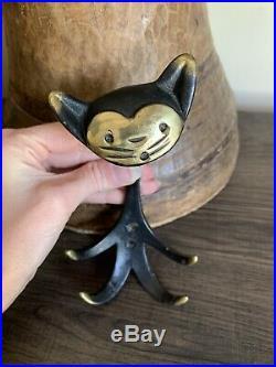 VINTAGE Cat Wall Hook AUSTRIA VIENNA WALTER BOSSE GES GESCH BRASS Original Foil