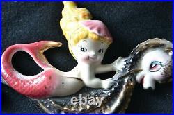 VINTAGE Ceramic Iridescent Mermaid on Seahorse Wall Plaque Japan #528