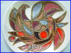 Vintage Double Signed Avraham Gofer Israel Pottery Wall Plaque Plate With Doves