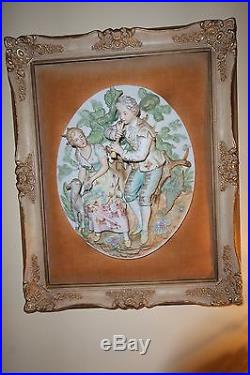 Vintage Dresden Bisque Hand Painted Relief Framed Wall Plaque / Hanging #2