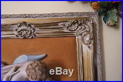 Vintage Dresden Bisque Hand Painted Relief Framed Wall Plaque / Hanging #3