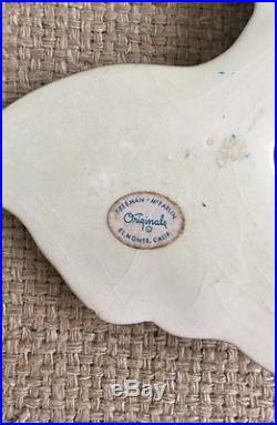 Vintage Freeman Mcfarlin Pottery Retro Aqua 1950 Fish Wall Plaque Set Mermaids