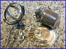 VINTAGE GIMBAL WALL MOUNT BRASS OIL LAMP WithSMOKE BELL GREAT PATINA