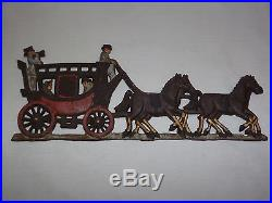 Vintage Horse & Carriage Hand Painted Iron Metal Wall Plaque Decoration