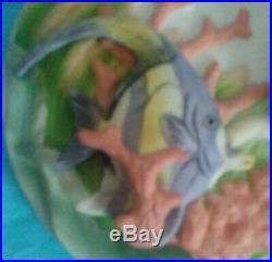 VINTAGE HTF LEFTON AUBURN MERMAID With FISH & SEA LIFE 3-D WALL PLAQUE MINT MARKED