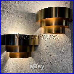 VINTAGE MCM / ART-DECO MINIMALIST BRASS PLATED WALL SCONCES BY LIGHTOLIER, 1970s