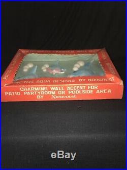 VINTAGE NORCREST ANGEL FISH WALL POCKET PLAQUE With BUBBLES ORIGINAL BOX MERMAIDS