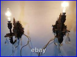VINTAGE ORNATE Classic BRASS WALL Crystal Wired Pair of SCONCES appliques