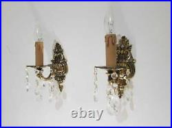 VINTAGE ORNATE Classic SOLID BRASS WALL Electric Pair of SCONCES appliques
