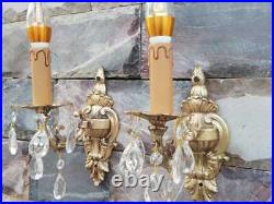 VINTAGE ORNATE Classic Solid BRASS Wall Crystal Wired Pair SCONCES appliques