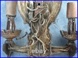 VINTAGE PAIR SOLID BRASS EARLY 1900s ELECTRIC WALL SCONCES