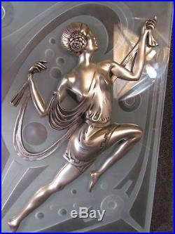 VINTAGE PAIR of 1980s FRENCH ART DECO BRONZE & FROSTED ART GLASS WALL PLAQUES