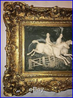 Vintage Plaque Of Equestrianism Horse Riders Marble Composition Wall Painting