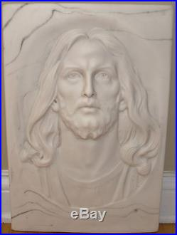 VINTAGE! RARE! Incolay Stone Wall Sculpture Vigilance Jesus Plaque by Gelert