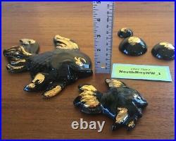 VINTAGE (SET x5) FISH BUBBLES CERAMIC WALL PLAQUE Mermaid Bathroom Decor GOLD
