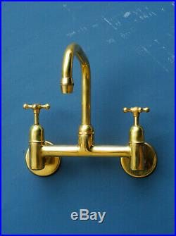 VINTAGE wall mounted MIXER TAP belfast sink faucet vintage brass UK