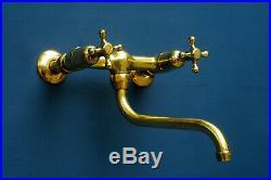 VINTAGE wall mounted MIXER TAP belfast sink faucet vintage brass UK