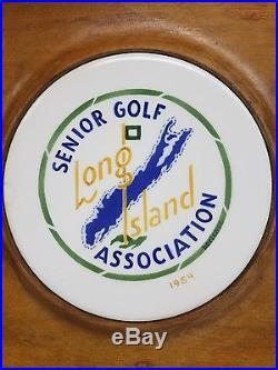 VTG 1954 LI, NYsenior Golf ass. Hortense wood& porcelain wall charger award plaque