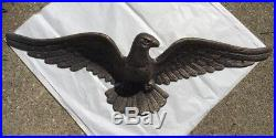 VTG 70's Cast Iron, Antique Brass Finish, American Eagle Wall Plaque 28 Wide