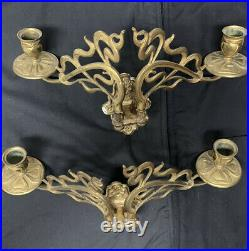 VTG Art Nouveau Wall Sconces Brass Marked E. Muller. A Pair