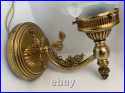 VTG BRASS Koi Dolphin Fish Shell Wall Lamp Sconces Fixtures Glass Petal Shades