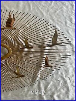 VTG C. Jere Birds In Flight Mid Century Brass Starburst Wall Art And Statue Set