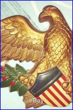 VTG Large SYROCO FEDERAL AMERICAN EAGLE WALL PLAQUE 32 Plaster patriotic