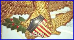 VTG Large SYROCO FEDERAL AMERICAN EAGLE WALL PLAQUE 32 Plaster patriotic
