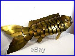 VTG Large Welded 41 CURTIS JERE BRASS FISH WALL ART SCULPTURE Mid Century RARE