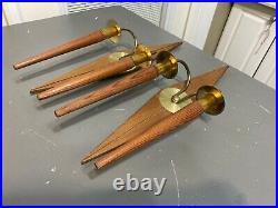 VTG MCM Atomic Mid Century Modern Walnut Wood Brass Wall Sconce Candle Holder Pr