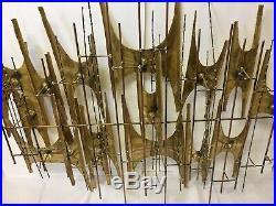 VTG MCM Large Brass Metal Wall Art Sculpture Brutalist Mid Century Modern