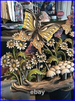 VTG MUSHROOMS FROG BUTTERFLY Burwood Homco Plastic Wall Plaque LARGE 39 X 15