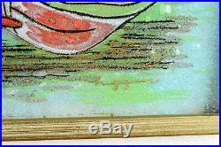 VTG Michael Frances Higgins Studio Art Glass Wall Plaque Red Lily Flower Signed