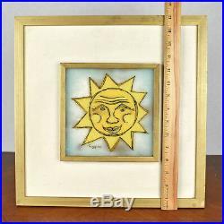 VTG Michael Frances Higgins Studio Art Glass Wall Plaque Yellow Sun Face Signed