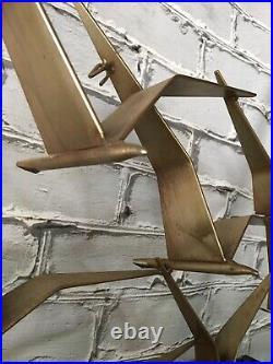 VTG Mid Century Curtis Jere Birds In Flight Brass Wall Art Sculpture Signed