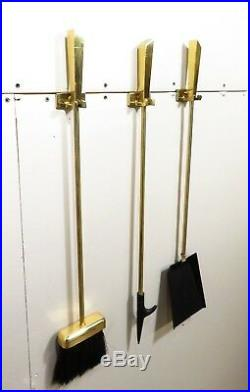 VTG Mid Century SOLID BRASS WALL MOUNT FIREPLACE HANGING TOOL SET Nelson Deskey