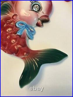 VTG NORCREST ANTHROPOMORPHIC KISSING FISH WALL PLAQUE BUBBLES MERMAID PY Japan