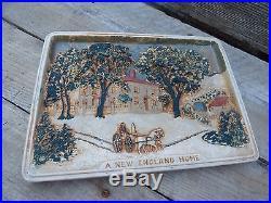 Vtg Rare Currier & Ives Art 5809/ A New England Home / Ant Ceramic Wall Plaque