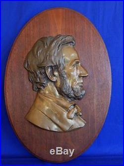 VTG Set 2 Lincoln Washington brass wood plaque figures wall signed Ernest Paltza