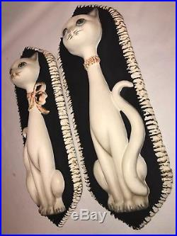 VTG Set OF 2 Michigan Composition & Lamp Co Siamese Cats Wall Plaques Chalkware