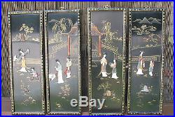 VTG Set of 4 black lacquer Oriental Mother of Pearl or Soapstone Wall Plaques