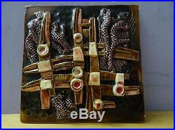 VTG Signed BY GOFER Israel Ceramic Art Deco Hand Made Wall Plaque Tile Abstract