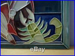 VTG Signed BY GOFER Israel Ceramic Art Deco Hand Made Wall Plaque Tile Scorpio