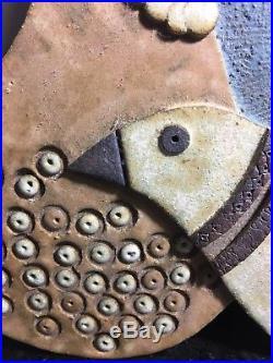VTG Studio Pottery Wall Plaque ART birds Signed DANMARK raymor Harper Era MCM