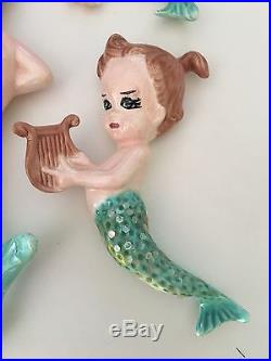 Very Rare Vintage Retro Norcrest Mermaid Ceramic Wall Plaque Lot Of 4 Chalkware