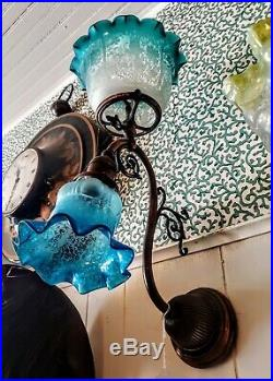 Victorian, Antique /Vintage, Gas/Electric, solid brass wall sconce blue glass