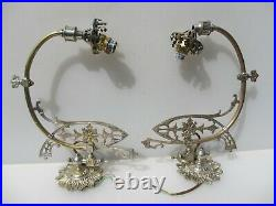 Victorian Converted Brass Gas Wall Lights Old Baroque Gilt Antique PROJECT