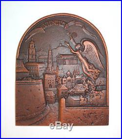 Vilnius Baroque Vintage USSR Solid Cast Iron Copper Wall Angel Plaque