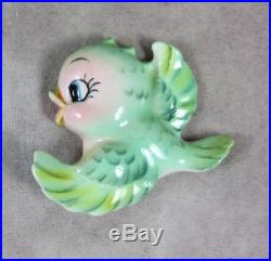 VinTaG LEFTON Green Bird Ceramic WALL PLAQUE Bird Hanging Figurines PY NAPCO